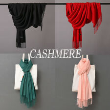 Oversize Cashmere Scotland Wool Shawl Wrap Solid Blanket Mens Womens Scarf