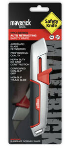 Maverick Pro Auto Retracting Safety Knife Utility Box Cutter Stanley Knives