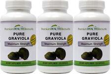 PREMIUM Graviola Sour Sop Capsules (1000mg per serving - 3Pk- 120 count bottle)