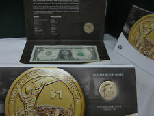 Uncirculated 2015 W Native  American $1 Coin and Currency Set Enhanced Sacagawea