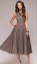 Asos Lady Vintage Mauve Cream Polka Dot Spot Prom Midi Dress 16 14 Bnwt