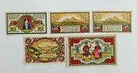 BERCHTESADEN NOTGELD 10, 2x 20, 50 PFENNIG, 1 MARK 1920 NOTGELDSCHEINE (12596)
