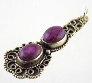 Sterling Silver Purple Turquoise Gemstone Pendant Enhancer or Charm 925 2.7g
