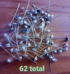 Lot of 62 Decorative Head Pins Silver Plate Crystal Accent Mixed