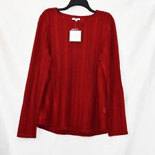 Croft & Barrow Pullover Knit Top Womens Size XL Red Lurex Stretch Long Sleeve