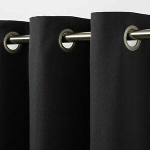 B&Q Taowa Black Very Dark Grey  Plain Single Ring Top Eyelet Curtain Panel X1