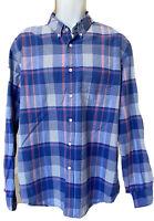 J Crew Mens Long Sleeve Button Down Front Shirt Top Pink & Blue Plaid XL