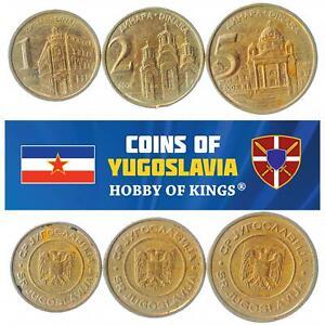 SET OF 3 COINS FROM YUGOSLAVIA. 1, 2, 5 DINARA. 2000-2002