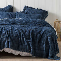 Linen House Denim Somers Bed Cover | Made from detailed Cotton Chenille
