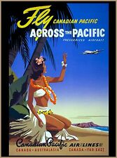 Fly Canadian Pacific Hawaii Canada Tahiti Travel Advertisement Poster
