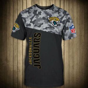 Jacksonville Jaguars Men Summer T-shirt Casual Loose Short Sleeve Tee Tops S-5XL