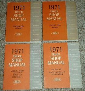 1971 Ford Truck Shop Manuals Complete Set Bronco Series B C L F P W Volume 1-5