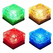 Solar Powered LED ICE Cube Landscape Pathway Brick Lights Garden Glass Outdoor