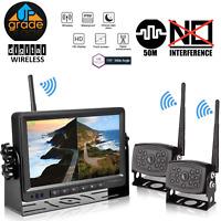 7'' RV Truck Digital Wireless Split Rear View System HD Monitor + CCD Camera * 2
