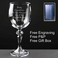 Personalised 10oz Crystal Wine Glass,Retirement, Leaving, Birthday Gift