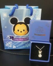 Disney Tsum Tsum Mickey Mouse CUBIC ZIRCONIA CZ Diamond Shaped Necklace Japan FS