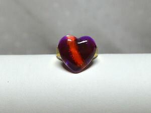 Designer Glas Ring Herz Heart Colour Blocking handbemalt vergoldet
