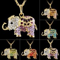 Fashion Crystal Rhinestone Elephant Animal Pendant Necklace Long Sweater Chain