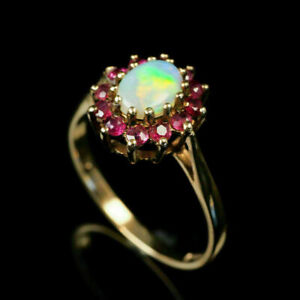 2.50Ct Fire Opal & Ruby Vintage Halo Engagement Ring In 14K Yellow Gold Finish