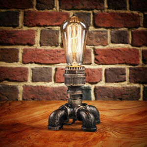 Industrial Table Lamp Water Pipe Desk Light Steampunk Edison Bulb Lamp Fixture