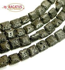 Lava Perlen schwarze Quadrate 10 mm, 1 Strang BACATUS Edelsteine