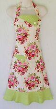 Floral Full Apron, Roses, Polka Dots, Womens Full Apron, Vintage Style, Handmade