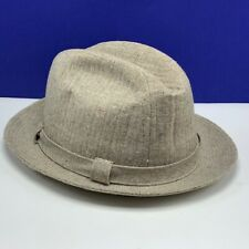 Stetson Fedora Hat vintage cap beige tan gold 7 and 1/4 size fitted houndstooth