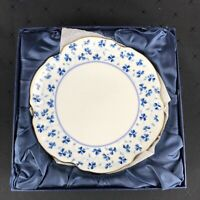 I GODINGER & CO White/Blue Flowers SET of 4 Bread Plates In Box