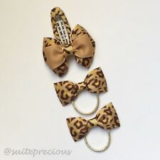 3pc Set Leopard print Gold Baby dance party show tiny bows hair ties+snap clip