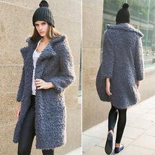 Womens Faux Fur Long Parka Winter Warm Trench Coat Top Ladies Overcoat Outwear