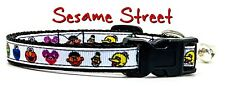 """Sesame Street cat or small dog collar 1/2"""" wide adjustable handmade Or leashes"""