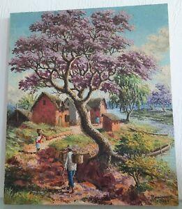 Peinture, Huile PAYSAGE ANIME A MADAGASCAR signée Peintre malgache à identifier