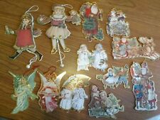12 Die Cut Christmas Ornament Victorian Girl & Boy Pullstring Vintage Style