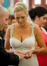 Crystal/Diamante Column/Sheath Regular Size Wedding Dresses