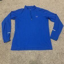 ARC'TERYX Long Sleeve 1/4 Zip Baselayer Top Shirt Blue Reflective Small Euc