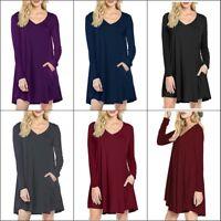Women's V-Neck Long Sleeve Tunic Top Shirt Blouse Dress L Plus Size XL - 3XL