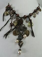 Luv Heals Charm Necklace Cherub, Angel Fluer De Lis, Semi Precious stones
