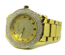 Men's Three Row of Faux Diamonds Gold Plated Metal Strap Hiphop Bling Watch