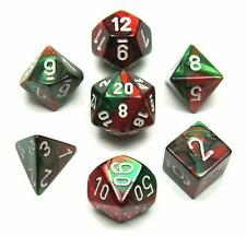 Chessex Polyhedral 7-Die Gemini Dice Set Green Red with White Numbers CHX 26431