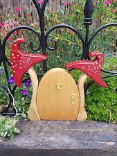 Hand Carved Free standing Wooden Fairy Garden Door Toadstool Red Faerie Door