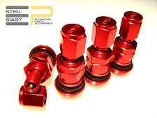 Aluminium Reifen Felgen Ventile Ventilkappen Farbig Eloxiert Rot 4 Stück Set