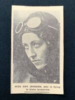 1938 Newspaper Clipping MISS AMY JOHNSON, WHO IS FLYING TO ULSTER TOMORROW