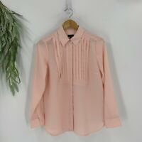 Talbots Womens Blouse Top Size Small Light Peach Long Sleeve Button Down Shirt