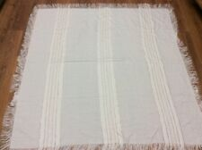 """MARIANNE WENDT table cloth 55"""" square beige GOLD SHIMMER FRINGE holiday WOW! #5"""