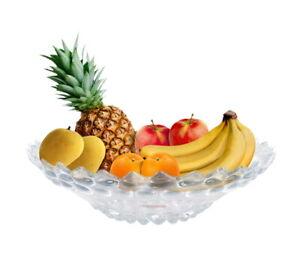Glass Fruit Bowl Large Shallow Dessert Snack Platter Salad Dish Serving Display