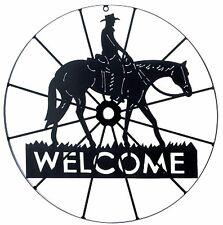 """Southwestern Cowboy * Cowboy Wagon Wheel Horse & Cowboy """"Welcome"""" Sign * Nib"""