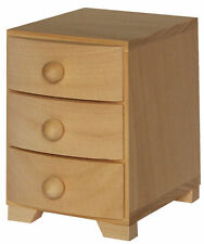 Three drawer pine wood bow fronted chest of drawers jewellery DD10 storage ring