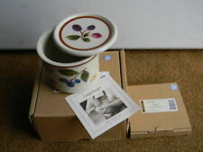 Longaberger Pottery Berry One Pint Candle Holder Crock with Lid Coaster Nos