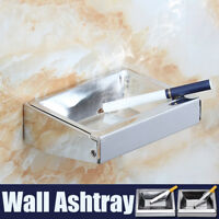 Wall Mounted Stainless Steel Cigarette Smoking Ashtray Top Square Pocket