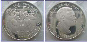 TANZANIA 100 Shilings 1990 Silver Proof UNICEF Save the Children